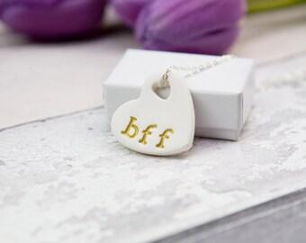 bff necklace, best friend gift, best friend necklace, ceramic pendant
