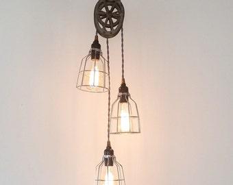 Three Light Pulley Pendant, Industrial Modern Lighting