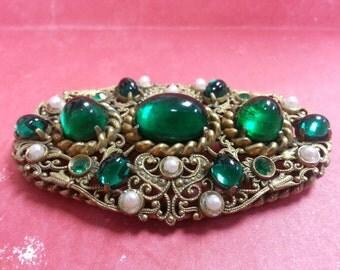 VINTAGE 1940s Edwardian Brooch Emerald Mothers Day Green Pin Pearl Cabochon Rhinestone Jade Filigree Victorian Art Nouveau Filagree Cabachon