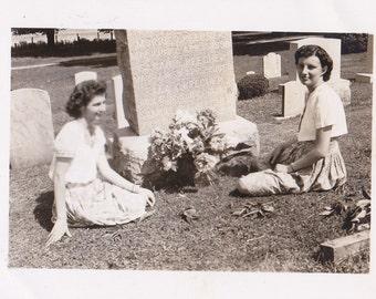 Memorial Day Flowers- 1940s Vintage Photograph- Cemetery Girls- Headstones- Grave Snapshot- Found Photo- Pretty Women- Paper Ephemera