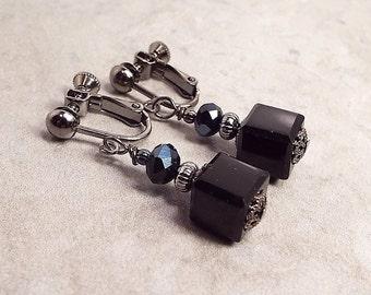 Black Earrings, Clip on Earrings, Drop Earrings, Cube Earrings, Screw Earrings, Dangle Earrings, Modern Womens, Square Earrings, Gunmetal