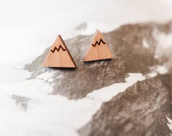 Wooden Mountain Earrings, Silver Mountain Earrings, Mountain Studs, Mountain Jewellery, Mountain Jewelry, Wooden Earrings, Travel Gift