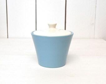 Majolica Sugar Bowl 1950s Mid Century Vintage Robbins Egg Blue White Ceramic Lidded Bowl Kasuga