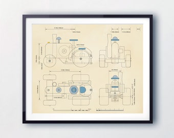 Tractor wall art, prints for Boys. Vintage kids prints. Illustrations for children, bedrooms, playrooms and nursery. Blueprints for Kids