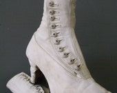 RESERVED 1910's Titanic Edwardian Posh Steampunk Button-up White Wedding  Granny Booties Louis Heels  Pointed Toes ~ AS IS