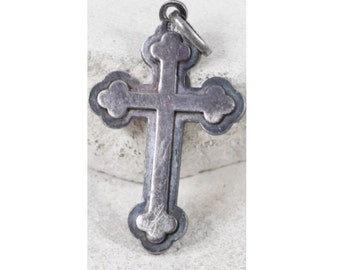 Vintage Sterling Cross Religious Pendant on Black Satin Cord