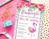 Flamingo Party Invitation Flamingo | Let's Flamingle Watercolor Printable Birthday Party Invitation
