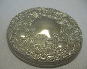 Silver Plate Ornate Lid Trinket Powder Box Flowers & Leaves Mirror Lid Only
