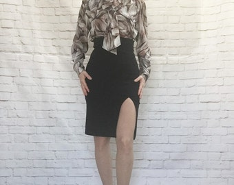 Vintage 80s Abstract Leaf Print Blouse Top M Necktie Ascot Scarf Collar Long Puff Sleeve