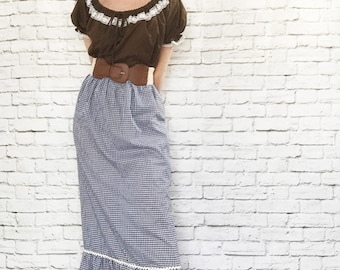 Vintage 70s Prairie Peasant Blouse Top Brown White Lace Trim Drawstring Puff Sleeves L XL