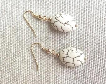 White Turquoise Earrings. Howlite Earrings. Gemstone Earrings. Silver Earrings. Sterling Silver. Dangle Earrings. White Earrings. Birthday.