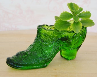 Vintage Green Glass Slipper Shoe with Flowers and Leaves