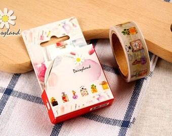 M220 Perfume Bottles Washi Tape in Box, 1.5cm x 5m Masking Tape Box, Washi tape roll, journal washi tape, deco tape, planner masking tape