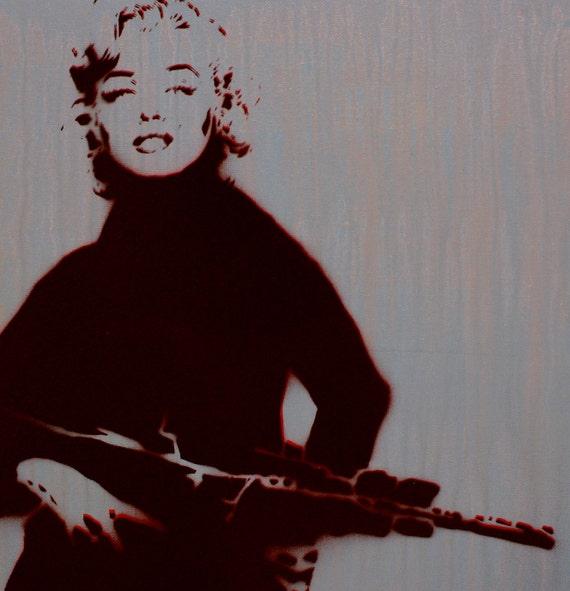 Marilyn Monroe Portrait MARILYN MONROGUE 16x20 Original Art Painting on Canvas Pop Art Graffiti Style Original Artwork Mahaffey Banksy Obey