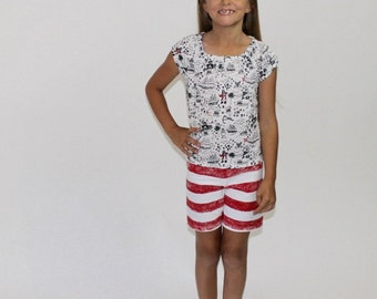 Girls Pirate Inspired Top and Shorts Set