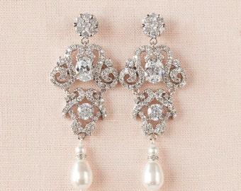 Bridal Earrings,  Wedding Jewelry, Chandelier Bridal earrings, Bridal Jewelry, Swarovski, Annabelle Bridal Earrings