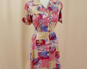 60s Mini Dress * Go Go Dress * Floral Mini Dress * Shirt Dress * 1960s Dress * Mod Dress * Pink Dress * Disco Dress * Twiggy Dress