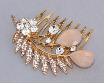 NEW Rose Gold Blush Pink Rhinestone Hair Comb,Bridal Hair Comb,Floral Spray,Repurposed Brooch,Upcycled,Clear Paved Crystal,Rose Gold Wedding