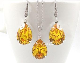 Yellow Wedding Jewelry Set, Bridal Swarovski Crystal Sunflower Teardrop Necklace Earrings Set, Yellow Citrine Bridesmaids Jewelry Set
