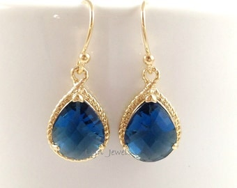 Sapphire Teardrop Earrings - Gold Trim Navy Blue Earrings - Bridesmaids Jewelry Christmas Gift September Birthday Gift