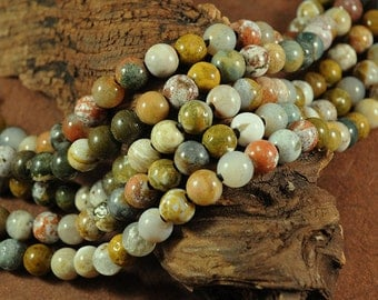 Ocean Jasper - LARGE HOLE Beads - 8mm smooth round - Full 8 inch strand - 2.5mm Hole