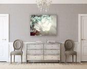 Canvas Art: Flower Gallery Wrap Canvas, Soft Teal Canvas Art, Flower Canvas, Flower, Cream Grey Soft Blue, Bedroom Decor Canvas Art Print.