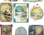 "Large Stickers (each sticker 2.5""x3.5"", pack 8 stickers) Scrapbooking Craft Vintage # Snowy Winter Scenes FLONZ 130"