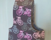 Pink and Gray Bicycles Reversible Yarn Bag S77