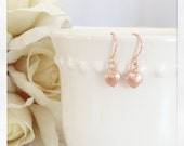 Heart Earrings Rose Gold Earrings Tiny heart earrings Rose Gold Jewelry gifts for teens best friend gifts mom, valentines day gifts for her