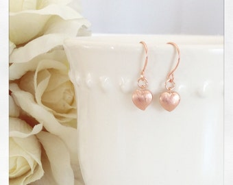 Rose Gold Earrings, Heart Earrings Tiny heart earrings Rose Gold Jewelry best friend gifts, flower girl gifts, gifts for her valentines gift