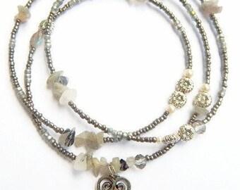 Sankofa Waist Beads, Labradorite  Adinkra Waist Beads, Belly Beads, Belly Chain