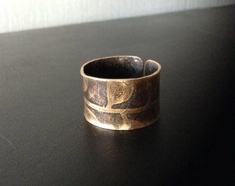 Etched Leaf Bronze Cuff Ring