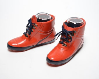 vintage 70s 80s Lands End duck boots rubber rain booties red rubber boots Thinsulate lining women's 7 1970 1980 winter boots