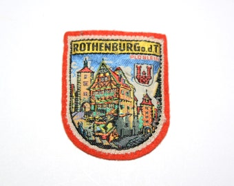 vintage 50s 60s Bavarian patch Rothenburg odt felt patch Plönlein Germany European travel patch 1950 1960