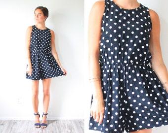 Vintage black and white polka dot romper // retro 80's mini dress // romper dress // summer swim cover up // polka dot dress XS-M retro mini