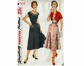 1950s Dress and Bolero Bust 40 Uncut Vintage Sewing Pattern Simplicity 4651 Scoop neckline dress with cropped bolero jacket