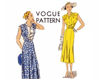 30s Vintage Vogue Dress Sewing Pattern Bust 36 Size 18 Vogue 7316 One Piece Dress with sleeve caps pleated skirt 30s Dress Easy to Make 1936