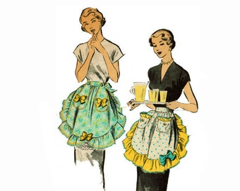 1950s Apron with Ruffles and Pouch Pockets Advance 5423 Hostess Apron Vintage Sewing Pattern