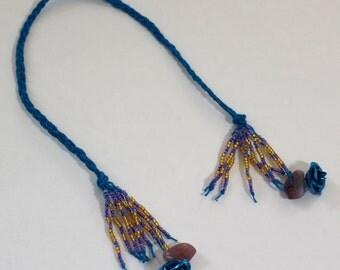 Braided Hemp Bookmark - Turquoise Rose