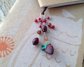 Chocolate Strawberry Book Thong Beaded Ribbon Bookmark Candy Sweet Valentine