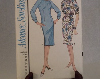 1964 Misses' Slightly Fitted One Piece Dress Pattern: Advance Sew Easy 3405 Factory Folded Pattern - Size 16, Bust 36