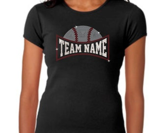Custom Team name Rhinestone and glitter baseball tee
