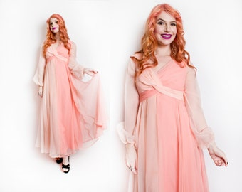 Vintage 1960s Dress - Pink Chiffon Two Tone Melon Full Length Gown 70s - Small