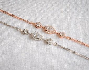 Crystal Bridal Bracelet, Wedding Bracelet, Crystal Teardrop and Round Halo Bracelet, Modern Vintage Style Bridal Wedding Jewelry, CALLISTA