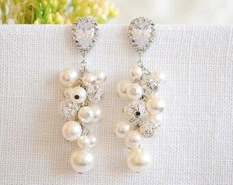 Pearl Cluster Bridal Earrings, Crystal Wedding Earrings, Teardrop Zirconia Dangle Earrings, Swarovski Pearl Cluster Stud Earrings, SYLVIE