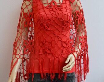 Red crochet poncho, Crochet poncho, boho poncho, crochet wrap, bohemian poncho, Women poncho, bridal poncho, bridal accessories, bridal cape