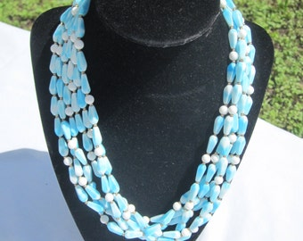 Multi Strand Blue and White Glass Bead Necklace