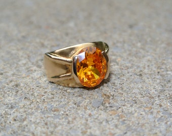 Sale ~ Sterling Silver 925 Gold Vermeil  W/ Pretty Amber / Champagne  Stone - size 5.75 - Over 7 grams