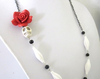 Day Of The Dead Necklace Sugar Skull Jewelry White Black Red Rose