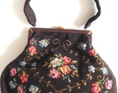 Vintage 1950s Needlepoint Hand Bag